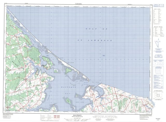 Malpeque Topographic Paper Map 011L12 at 1:50,000 scale