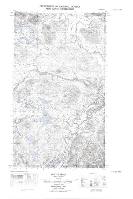North River Topographic Paper Map 013H13E at 1:50,000 scale