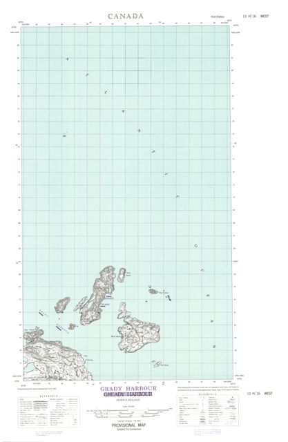 Grady Harbour Topographic Paper Map 013H16W at 1:50,000 scale