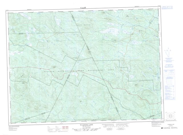 Tuadook Lake Topographic Paper Map 021J15 at 1:50,000 scale