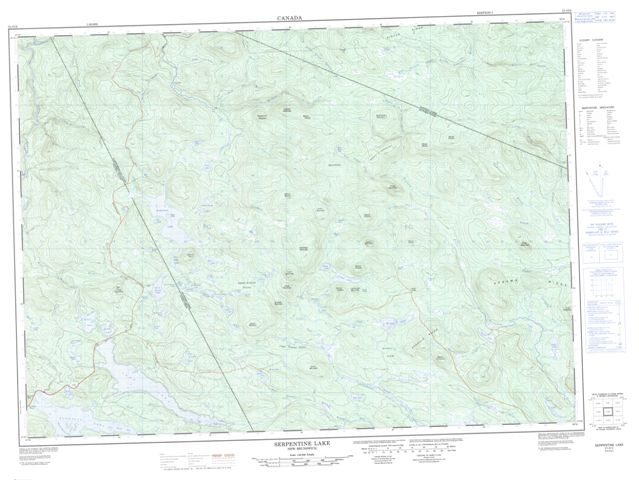 Serpentine Lake Topographic Paper Map 021O02 at 1:50,000 scale