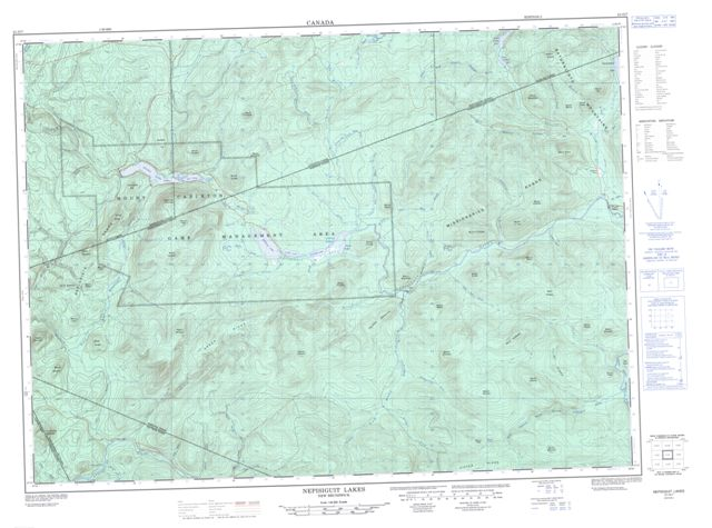 Nepisiguit Lakes Topographic Paper Map 021O07 at 1:50,000 scale