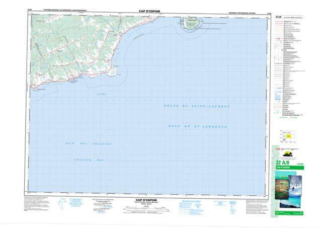 Cap D'Espoir Topographic Paper Map 022A08 at 1:50,000 scale