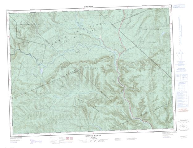 Monts Berry Topographic Paper Map 022B09 at 1:50,000 scale