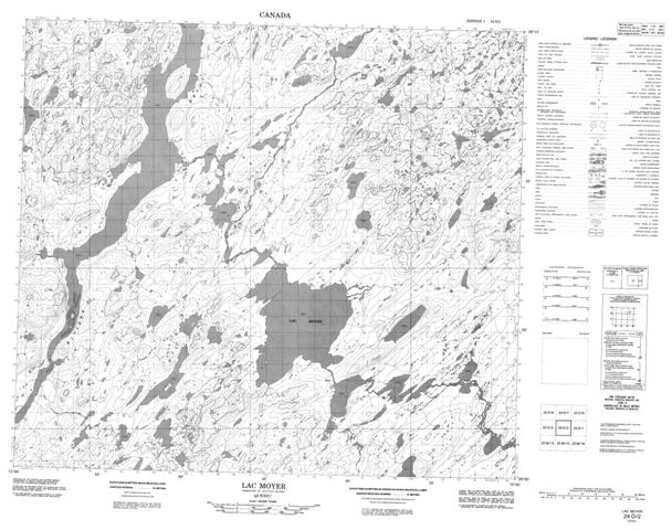 Lac Moyer Topographic Paper Map 024D02 at 1:50,000 scale