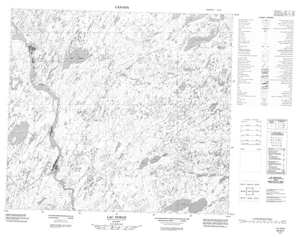 Lac Doran Topographic Paper Map 024D07 at 1:50,000 scale