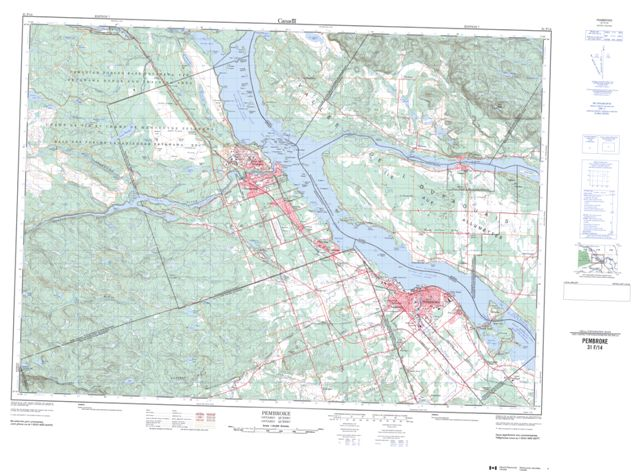 Pembroke Topographic Paper Map 031F14 at 1:50,000 scale