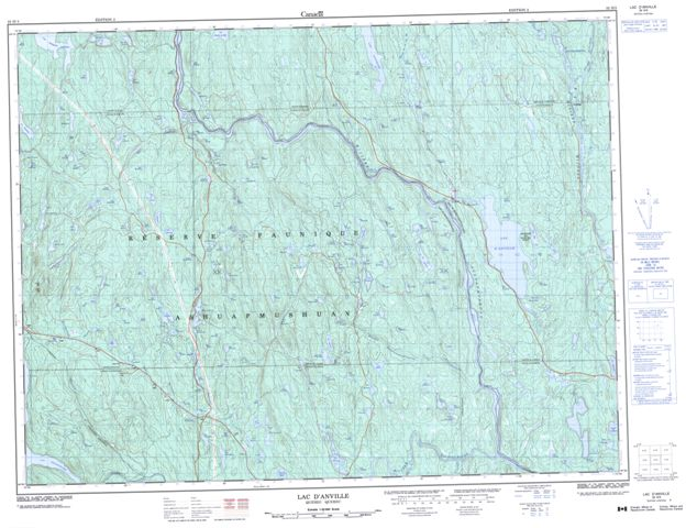 Lac D'Anville Topographic Paper Map 032H03 at 1:50,000 scale
