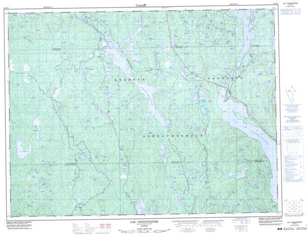 Lac Chigoubiche Topographic Paper Map 032H04 at 1:50,000 scale