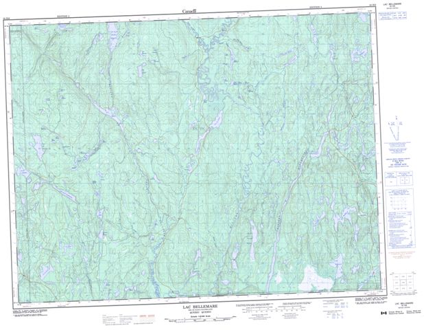 Lac Bellemare Topographic Paper Map 032H08 at 1:50,000 scale