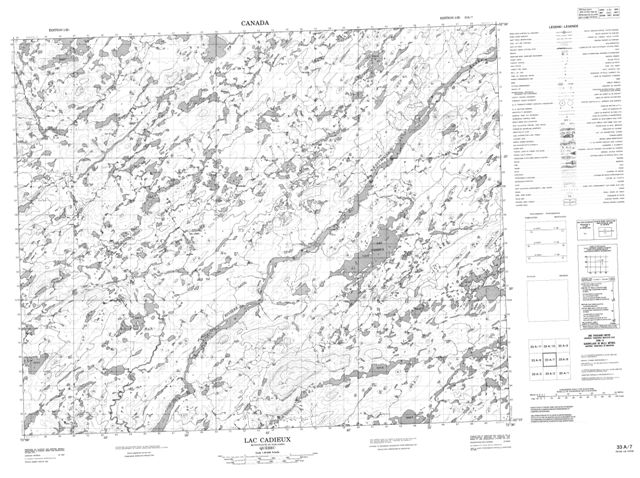Lac Cadieux Topographic Paper Map 033A07 at 1:50,000 scale