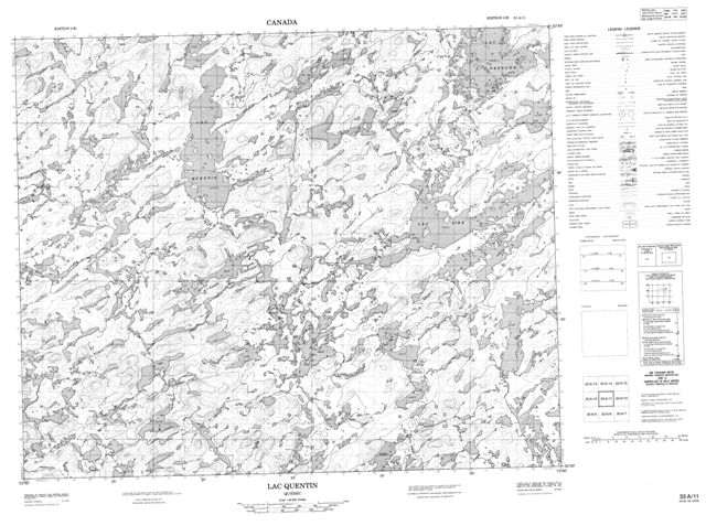 Lac Quentin Topographic Paper Map 033A11 at 1:50,000 scale