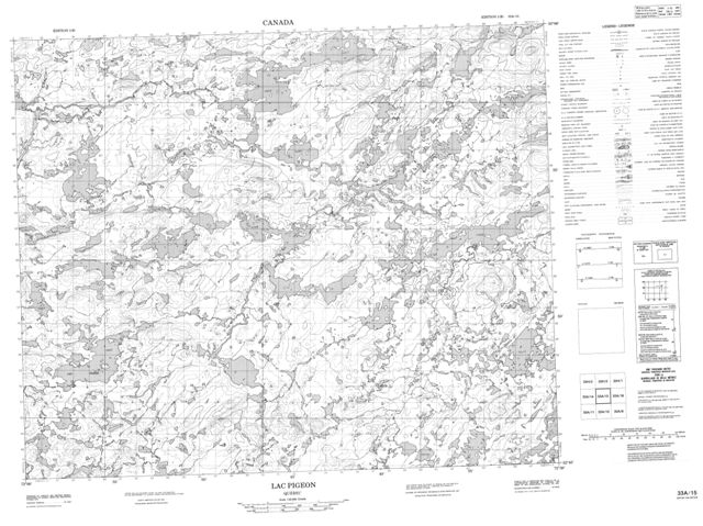 Lac Pigeon Topographic Paper Map 033A15 at 1:50,000 scale