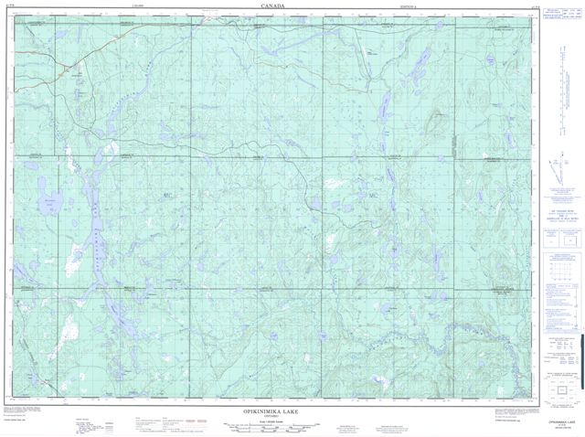 Opikinimika Lake Topographic map 041P06 at 1:50,000 Scale