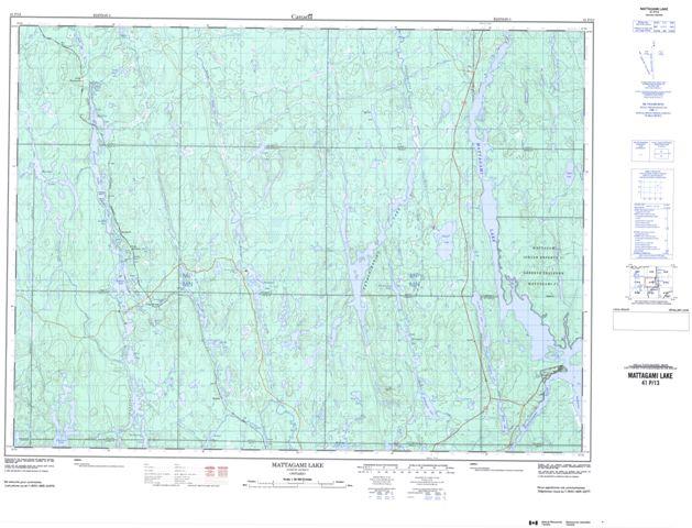 Mattagami Lake Topographic map 041P13 at 1:50,000 Scale