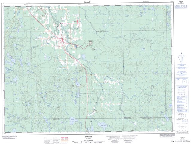Ramore Topographic Paper Map 042A08 at 1:50,000 scale