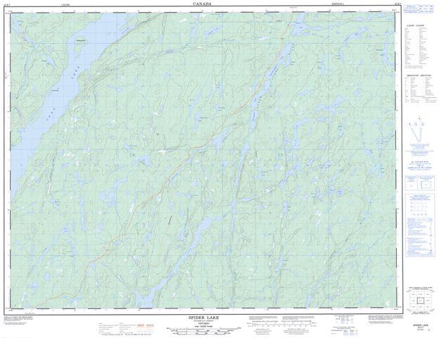Spider Lake Topographic Paper Map 042E07 at 1:50,000 scale