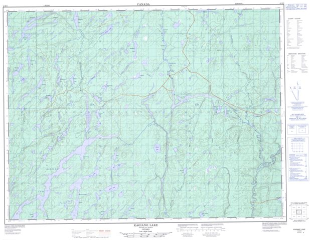Kagiano Lake Topographic Paper Map 042E08 at 1:50,000 scale