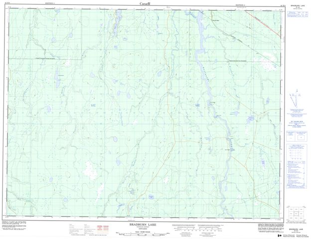 Bradburn Lake Topographic Paper Map 042H04 at 1:50,000 scale