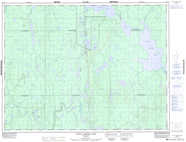 Little Abitibi Lake Topographic Paper Map 042H07 at 1:50,000 scale