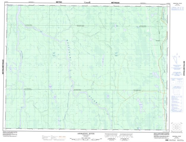 Abimatinu River Topographic Paper Map 042H12 at 1:50,000 scale