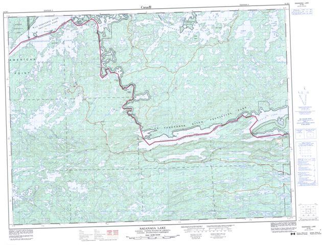 Saganaga Lake Topographic Paper Map 052B02 at 1:50,000 scale