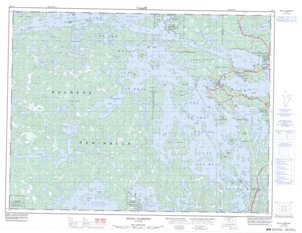 Sioux Narrows Topographic Paper Map 052E08 at 1:50,000 scale