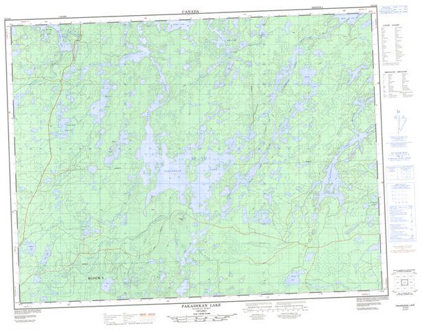 Pakashkan Lake Topographic map 052G08 at 1:50,000 Scale