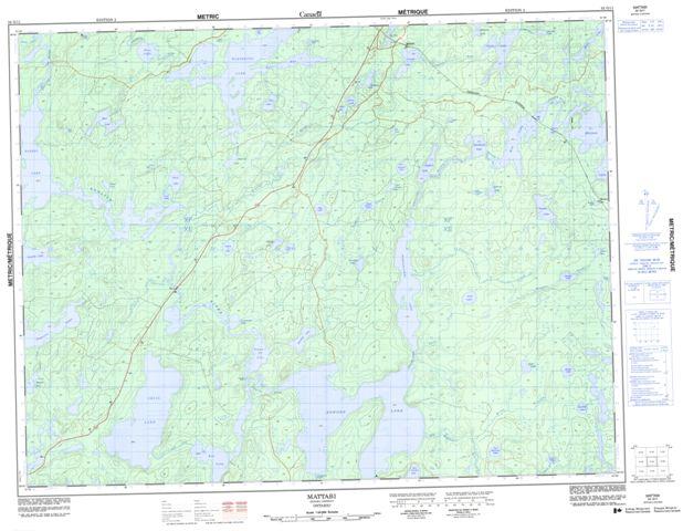 Mattabi Topographic map 052G11 at 1:50,000 Scale