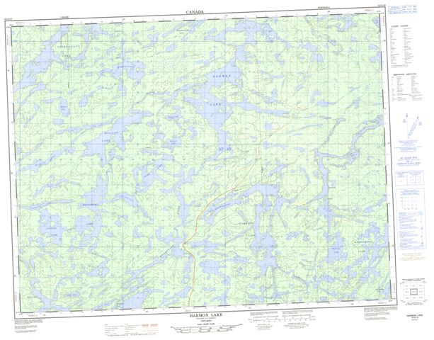 Harmon Lake Topographic map 052G16 at 1:50,000 Scale