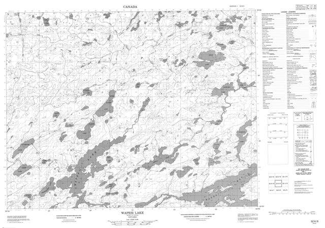 Wapesi Lake Topographic Paper Map 052K09 at 1:50,000 scale