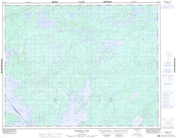 Aerofoil Lake Topographic Paper Map 052K10 at 1:50,000 scale