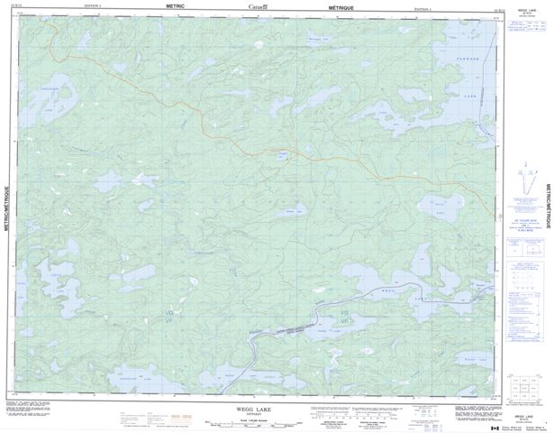 Wegg Lake Topographic Paper Map 052K12 at 1:50,000 scale