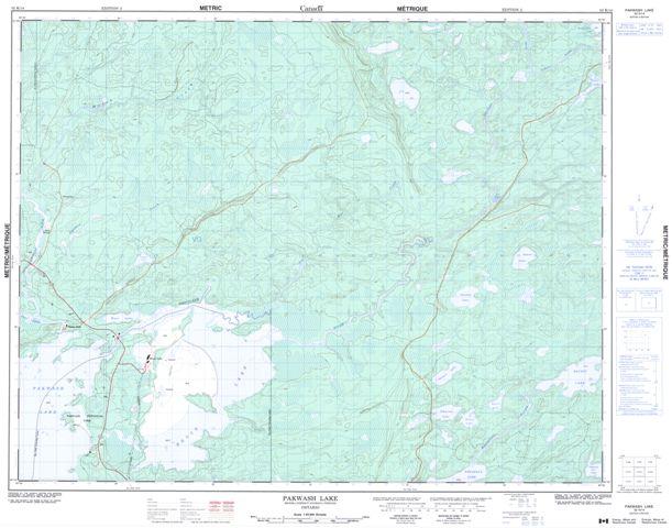 Pakwash Lake Topographic Paper Map 052K14 at 1:50,000 scale