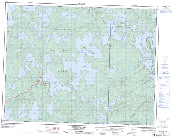 Crowduck Lake Topographic Paper Map 052L03 at 1:50,000 scale