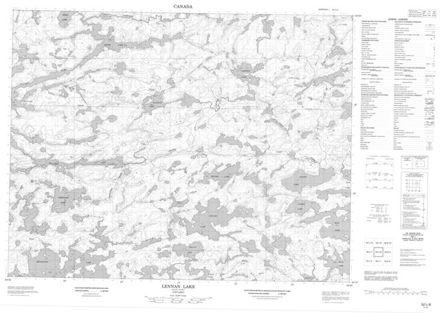 Lennan Lake Topographic Paper Map 052L08 at 1:50,000 scale
