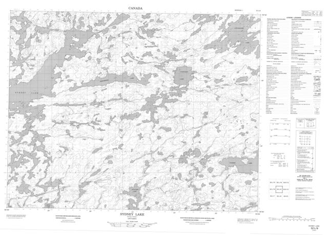 Sydney Lake Topographic Paper Map 052L09 at 1:50,000 scale