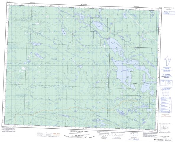 Manigotagan Lake Topographic Paper Map 052L13 at 1:50,000 scale