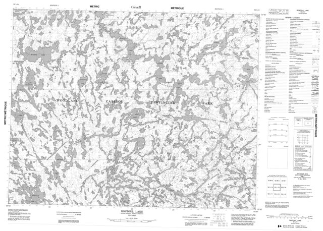Rostoul Lake Topographic Paper Map 052L15 at 1:50,000 scale