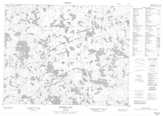 Bigshell Lake Topographic Paper Map 052M08 at 1:50,000 scale
