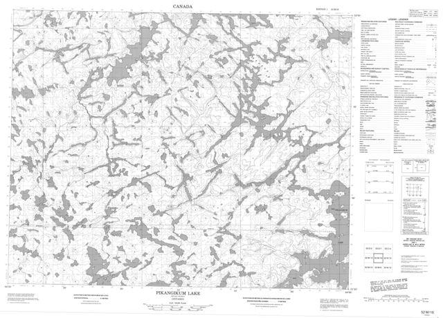 Pikangikum Lake Topographic Paper Map 052M16 at 1:50,000 scale