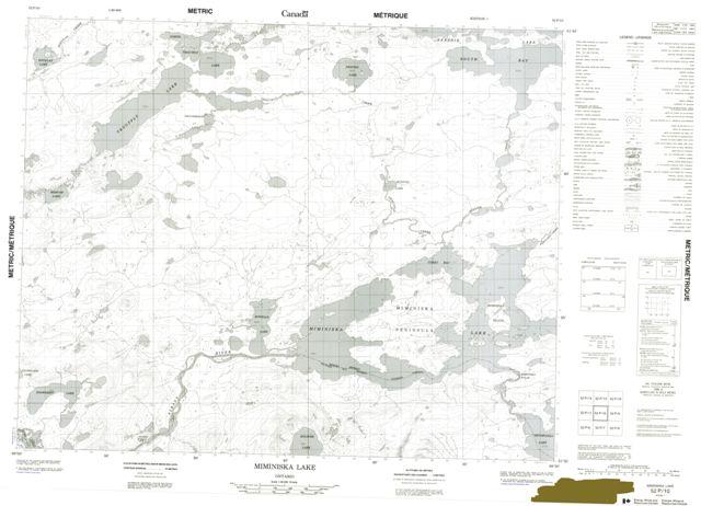 Miminiska Lake Topographic Paper Map 052P10 at 1:50,000 scale