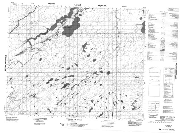 Collishaw Lake Topographic Paper Map 052P12 at 1:50,000 scale
