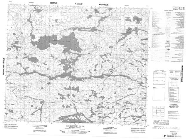 Acheetamo Lake Topographic Paper Map 053D14 at 1:50,000 scale