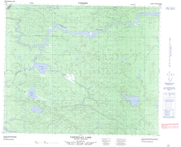 Varveclay Lake Topographic Paper Map 053E01 at 1:50,000 scale