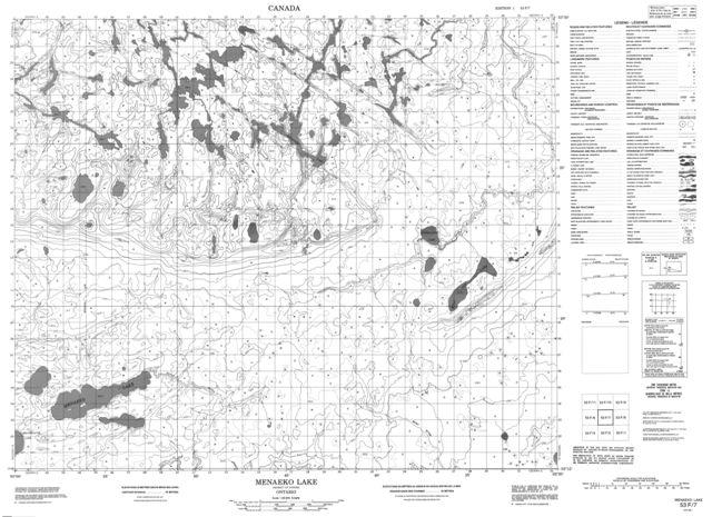Menaeko Lake Topographic Paper Map 053F07 at 1:50,000 scale