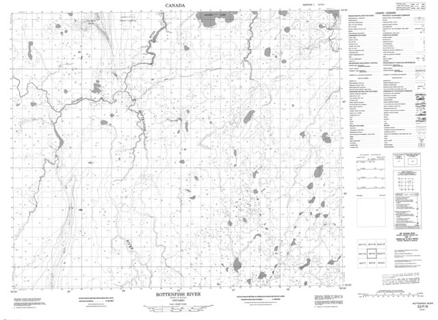 Rottenfish River Topographic Paper Map 053F09 at 1:50,000 scale