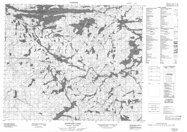 Hayward Lake Topographic Paper Map 053F12 at 1:50,000 scale