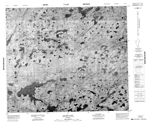 Ellard Lake Topographic Paper Map 053J12 at 1:50,000 scale