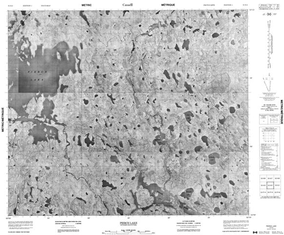 Pierce Lake Topographic Paper Map 053K02 at 1:50,000 scale